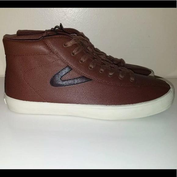 055d7e339de9 Tretorn Vegan Leather Brown Hightop Lace Up shoes